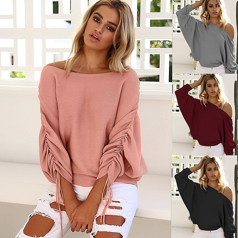 Ruffle Knitted  Loose O-Neck  Shrug sweaters