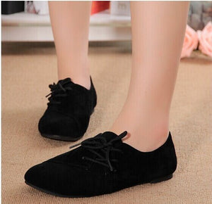 Leather lace-Up Flat Shoes