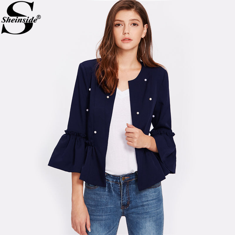 Pearl Beaded Flare Sleeve Frilled  Blazer