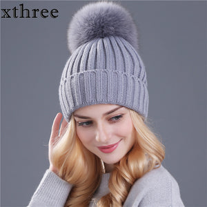Fox fur pom poms ball hat