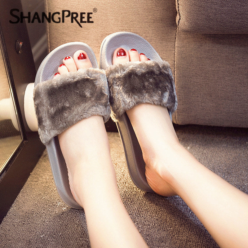 Women Faux Fur Flip Flops