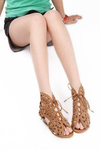 Lace Up Open Toe Low Wedges