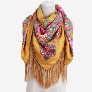 Cotton Printed Long Tassel Shawl