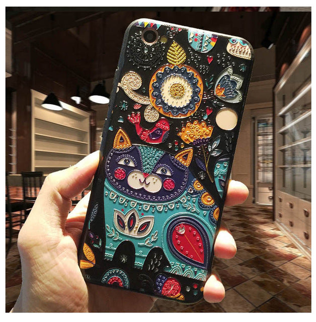 3D Stereo Relief Phone Case For  iphone 6 case Fashion Pattern For iphone 6 6S 7 Plus case