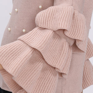 Pearl Beaded Layered Ruffle Sleeve Sweater