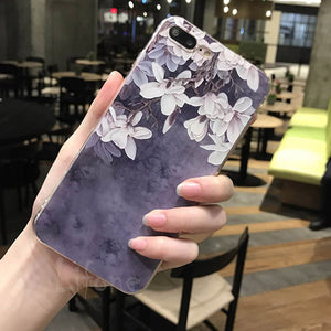 3D silicon Cases For iPhone 6 6s  Cherry Petals Flowers  Lace Leaves Cover For iPhone 6 7 6S Plus Back Capa
