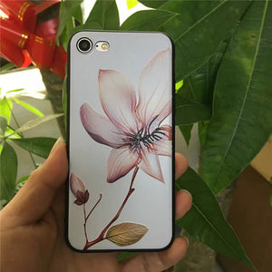 Lotus flower 3D Silicone Case for iphone 6s 6splus 7 7plus 8 8plus