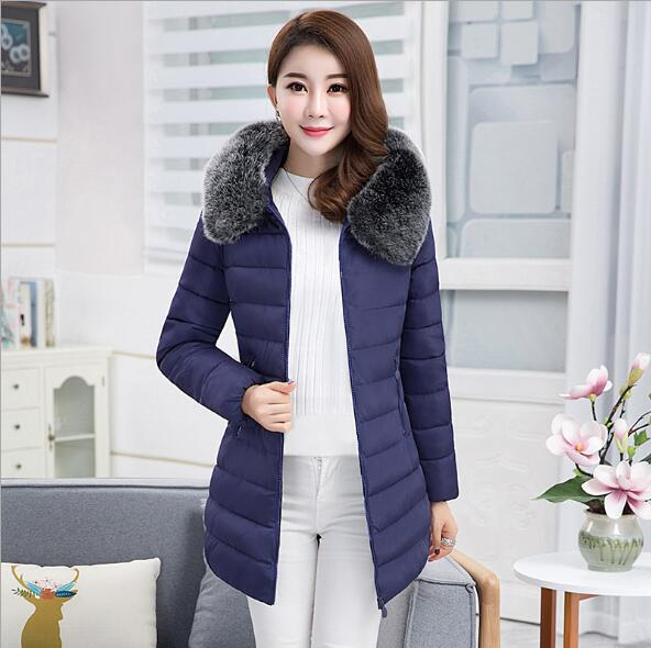 Faux Fur Collar Hooded Cotton Warm Coat