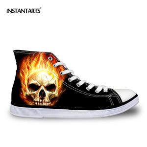 Cool Punk Skull Printed Canvas Shoes