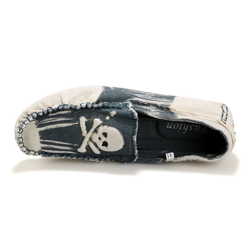 Washed Denim Cool Skull Loafers