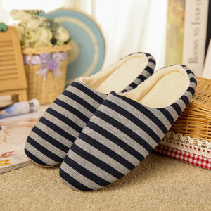 Warm Cotton Plush Striped Slippers