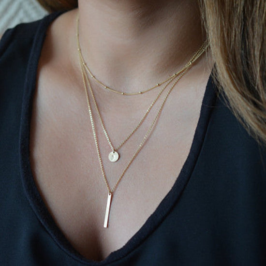 Gold Silver Plated multi layer bar coin necklace