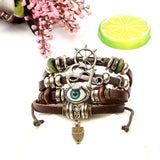 Handmade Vintage Rope Bead Woven Owl Leather Bracelets