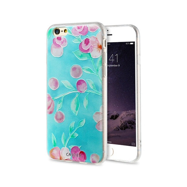 3D Art Print Case For iPhone 7 5 Plus iPhone 6 6s Plus Flower Relief Phone Cases For iPhone 7 Coque Cover