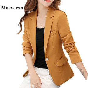 Women Long Sleeve Single Button Blazers
