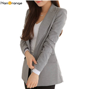 Slim Plaid Houndstooth Long Blazer