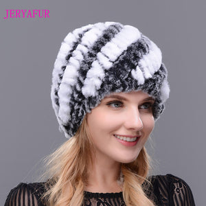 Knitted Rex Rabbit Fur Hat