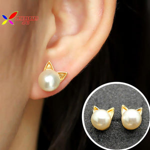 Pearl cat head earring