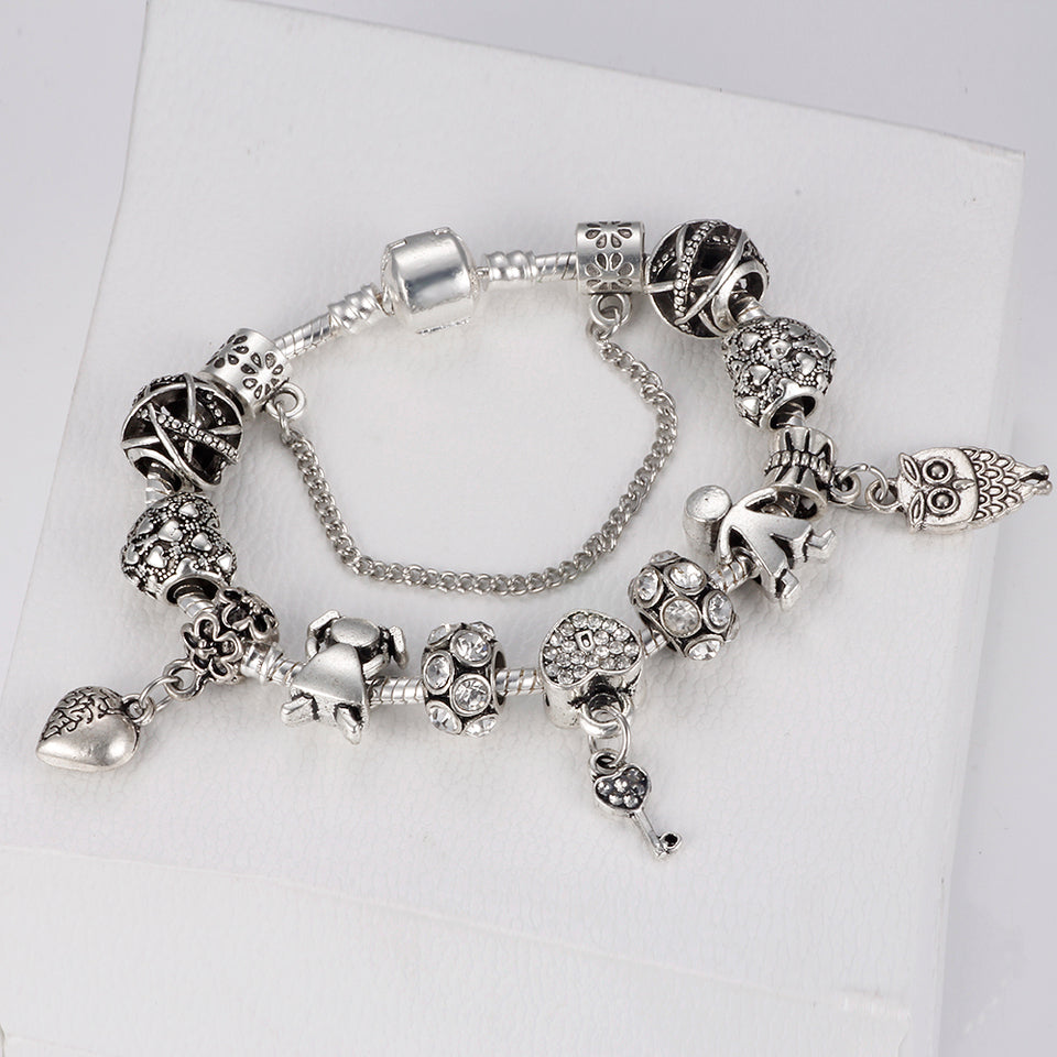 Vintage Pandora Couple & key beads  bracelet
