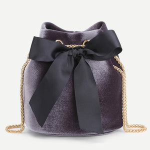 Bow Tie Velvet Bucket Bag