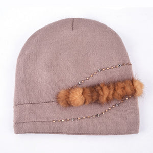Bead Chain Knitted Wool Cap