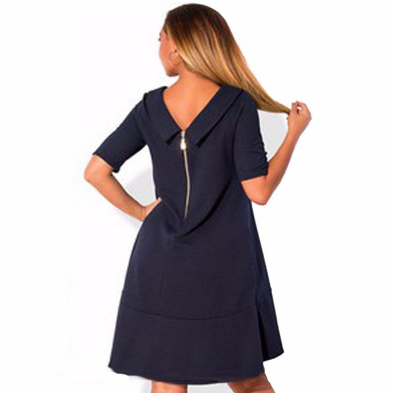 V Back Zipper Mini Dress