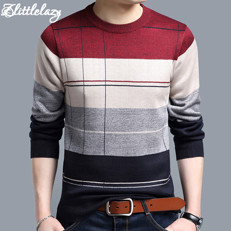 Casual crocheted striped knitted sweater