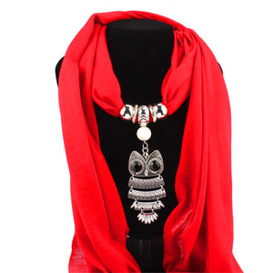 Owl Pendant Cotton Scarf
