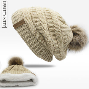 Double layer fur ball cap