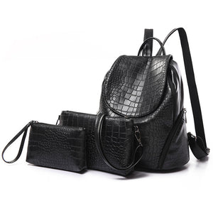 Three Sets Leather Backpack