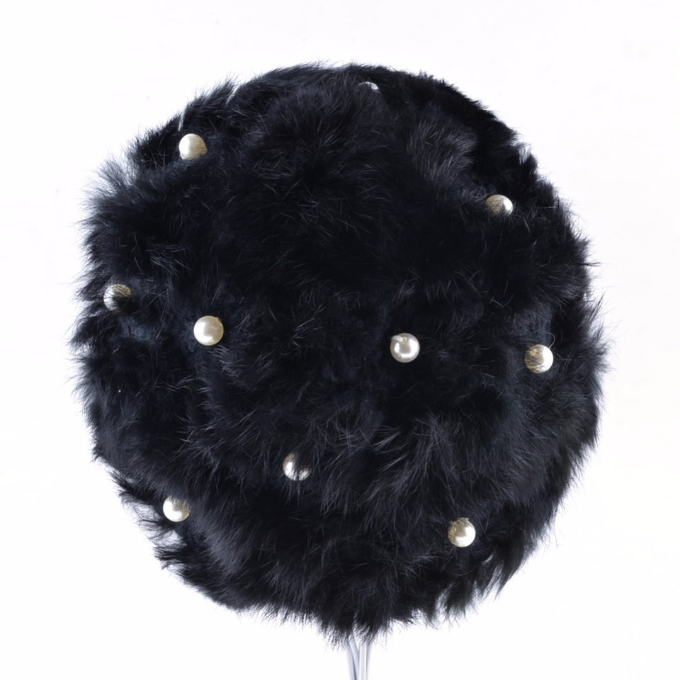 Fur Knitted Rabbit  PomPoms Cap