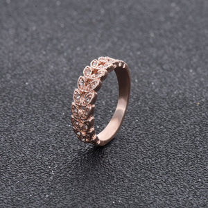 Rose Gold Plated CZ Diamond Crystal Leaf Ring For Women