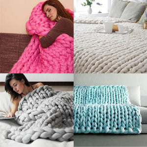 Hand Chunky Knitted Blanket