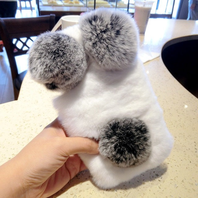 Panda Top Rabbit Fur Case