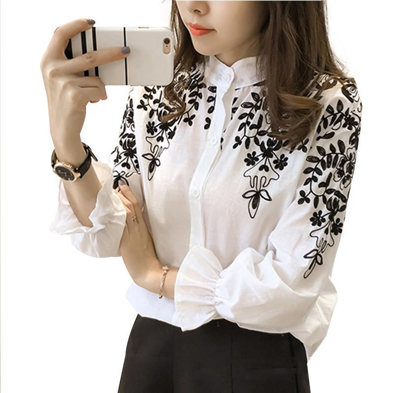 White Black Embroidery Shirt