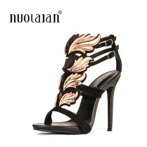 Leaf flame high heel sandals