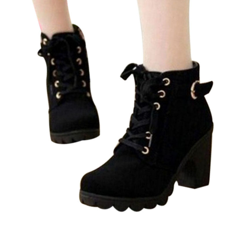 Solid Lace-up Leather Boots