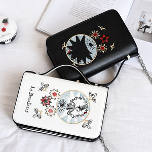 Embroidery Flower Flap Bag