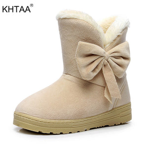 Plush Bow tie Fur Ankle Snow Boots