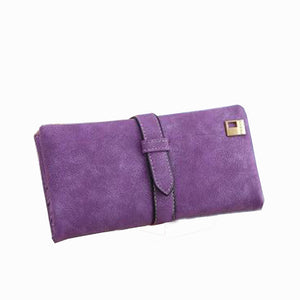 Long Matte Leather Hasp Clutch