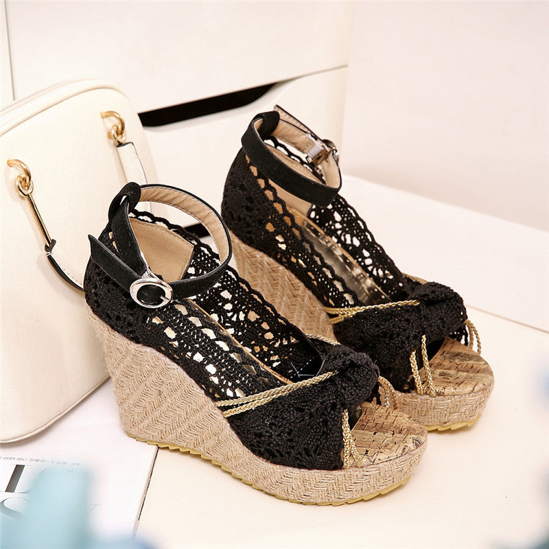 Cow leather shoes buckle platform wedges