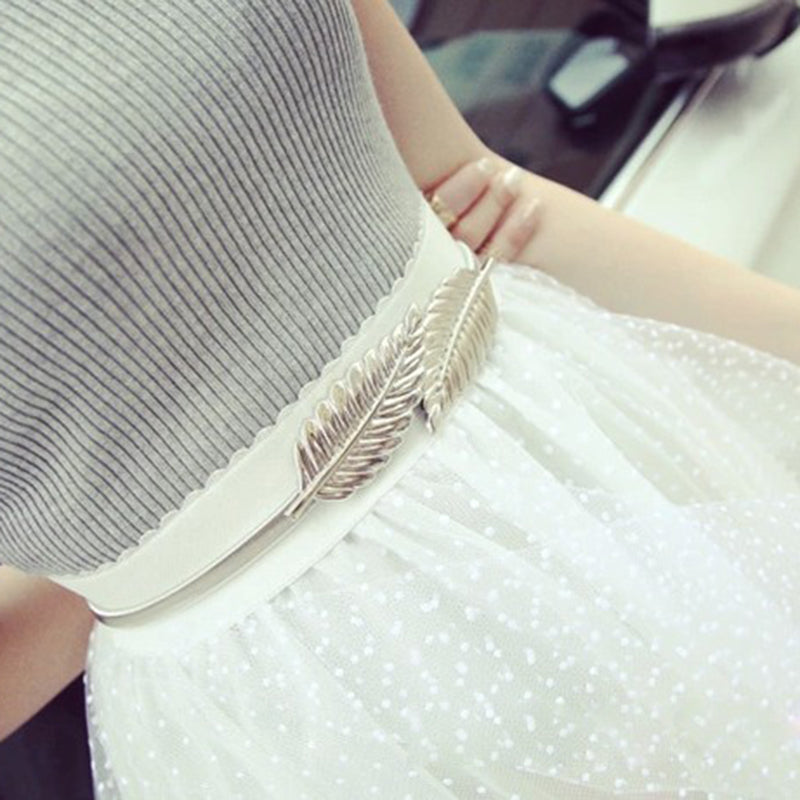 Leaf Design Metal Waist Dress Belt