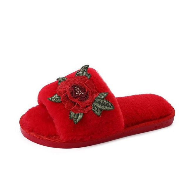 Peony Embroidered Flowers Slippers