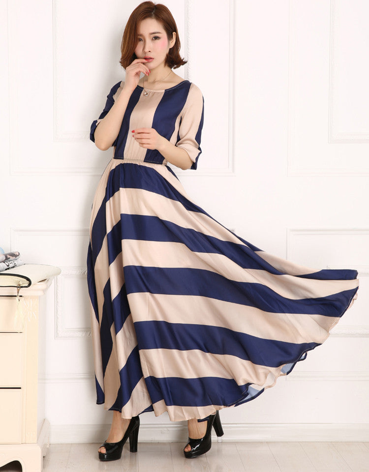 Stripe Floor-Length Long Dress