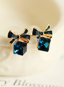 Gold Bow Cubic Crystal Earrings