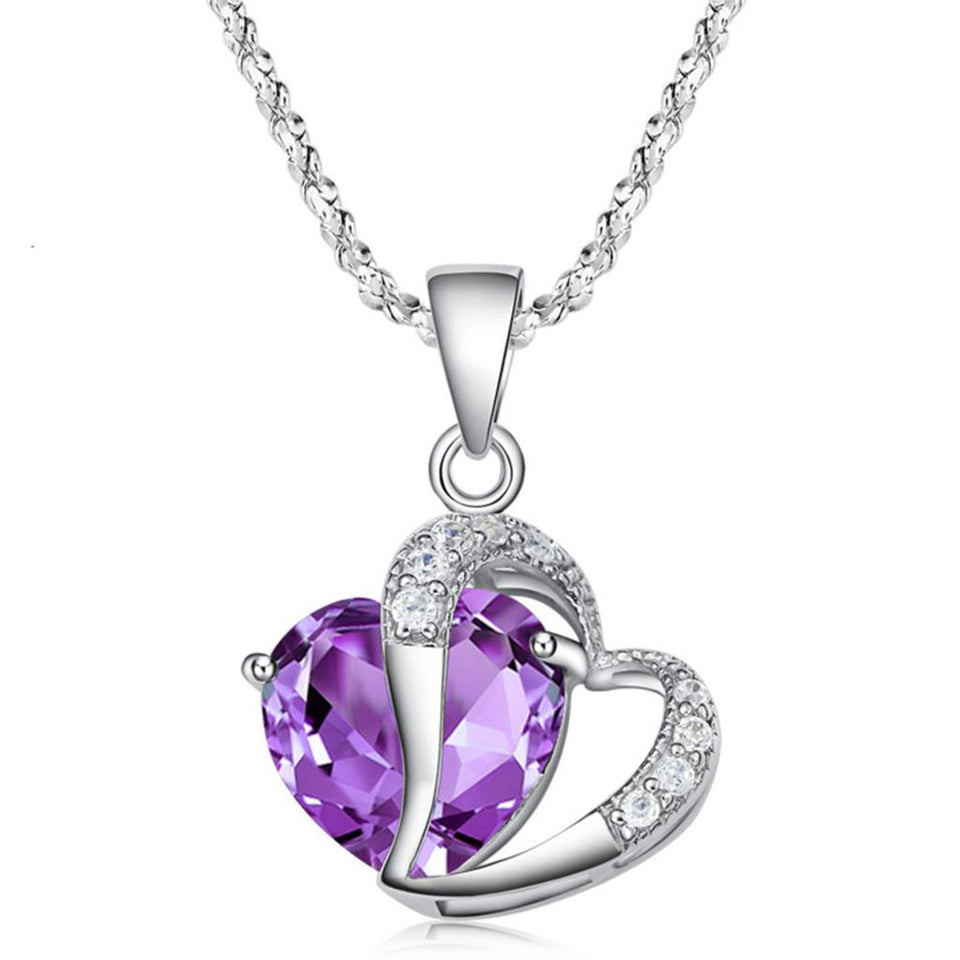 Crystal Heart Necklace - Zircon Silver Plated