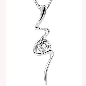 Silver cubic zirconia pendant necklace (6 different designs)