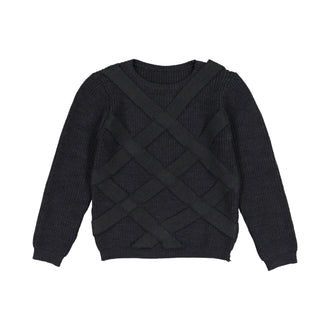 Black Lattice Weave Sweater