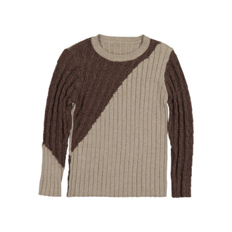 Brown Diagonal Ribbed Sweater