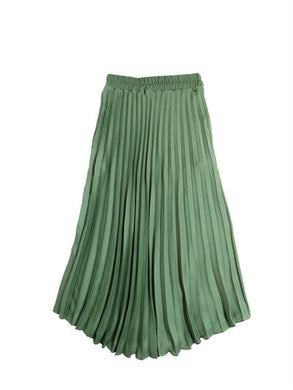 Green Pleat Maxi Skirt